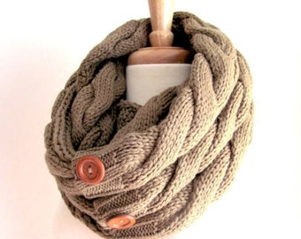 SALE Infinity Loop Scarf Braided Cable Knit Neckwarmer Taupe Brown Scarves with Buttons Women Girls Accessories