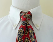 LUXURIOUS Vintage POLO by Ralph Lauren PRL 100% Silk Blue & Cream Paisleys on Red Stripe Trad / Ivy League Neck Tie.