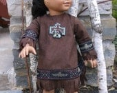 RESERVED FOR DONNETTAa 18 inch American Girl doll Kaya, Native American brown suede dress and headband