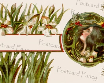 Art Nouveau Pretty Lady in Flowers and Holly, Instant Digital Download, Antique Postcard