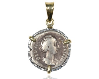 sterling silver and 18 karat gold ancient coin pendant with authentic silver ancient roman coin, ancient coin jewelry
