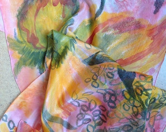 Flowers scarf.  Flower hand painted silk scarf. Ready to ship.