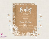 Baby It's Cold Outside Baby Shower Invitation / Boy Winter Baby Shower Invitation / Printable / Snowflake Baby Shower / Kraft