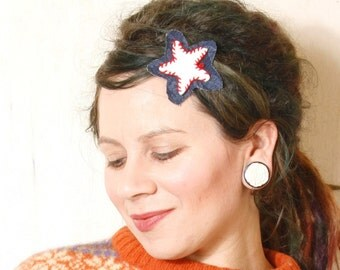 Star hair clip Leather hair clip Gift for her White hair clip Holiday hair Kids hair clip Denim hair accessory White blue hair clip