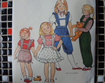 vintage 1980s Butterick sewing pattern 4310 girls overalls or jumper size 6