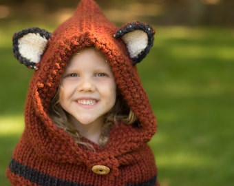 Fox Hat, Animal Hat, Hooded Cowl, Fox Cowl, Hooded Fox Cowl, Fox Hood, Knitted Fox Cowl