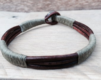 Mens Army Green and Brown Leather Bracelet, Rustic, Weathered, Gift for Him