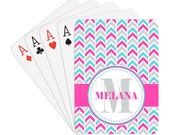Create Your Own Chevron Personalized Playing Cards | YOU choose your colors | Name & Initial