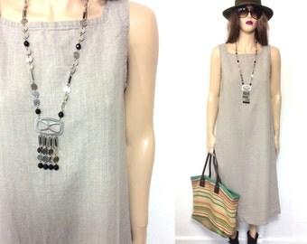 Vintage 90's Dress 80's Dress Minimalist Dress Long Linen Dress Boho Hippie Dress Grunge Maxi Taupe Khaki Tank Sleeveless Clothing Medium S