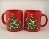Waechtersbach Christmas tree, 1979, mugs, holiday, red, set of two