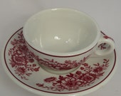 Carr China, Dayton, floral pink, rose, coffee cup