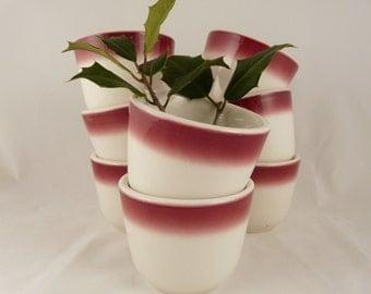 Holiday dipping bowls, vintage restaurant ware, red airbrush, Buffalo China, set of 8