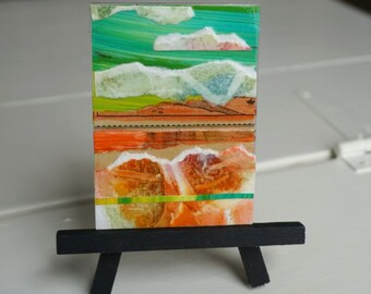 Orange, Turquoise, Mixed Media, Plaque, Magnet, by Marji Stevens