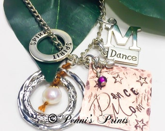 Dance mom necklace, proud dance mom, personalized, hand stamped, mother of dancer