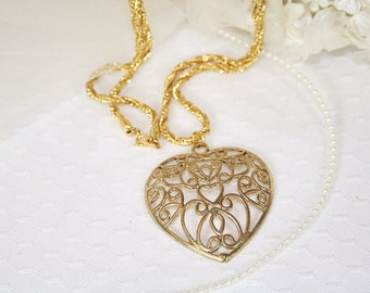 Vintage Heart Necklace Scrollwork Heart Pendant Necklace Love Necklace Gifts for Her Gifts Under 20 Dollars