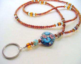 Lanyard Necklace, Brown and Blue, Butterfly Polymer Clay Bead Lanyard Necklace,  Nametag, Eyeglass Holder, Keychain Holder, Beaded Lanyard