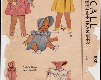 """RARE 1940's Baby Dress and Bonnet Vintage Sewing Pattern - McCall 880 - Size 6 Months, Breast 19"""", Missing Sleeveband"""