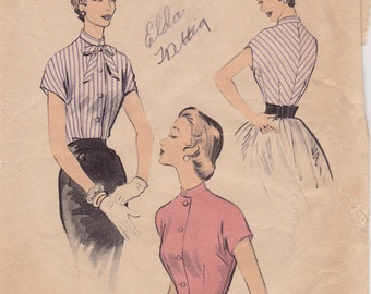 50s Rockabilly Misses' Front Buttoned Blouse Vintage Sewing Pattern [Advance 6662] Size 12, Bust 30, Complete UnPrinted
