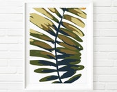 Wide Leafed Fern Closeup Botanical Print, Nature Wall Art, Green Fern Plate, Abstract Art, Tropical Design, Digital Download Printable
