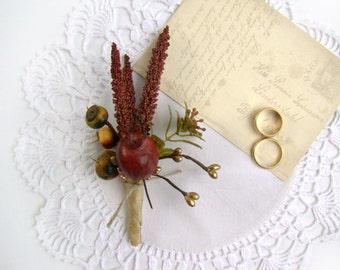 Wedding Boutonniere, Rustic, Lapel Pin, Groom, Groomsmen, Wedding Flowers, Autumn Wedding, Wild Flower, Fall Colors, Wedding Party, Woodland