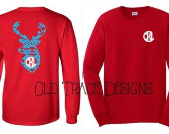 Aztec Deer Head Monogram Shirt Available in Long or Short Sleeve