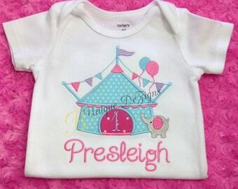 Girls Circus Shirt, Applique Circus Tent and Elephant Shirt, Applique  Birthday Number T-Shirt, Carnival Shirt