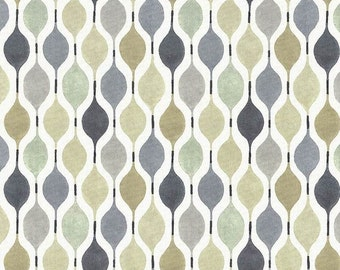 Taupe White Geometric Cotton Home Decor Fabric   Modern Dark Grey Ogee  Roman Shade Curtain Fabric