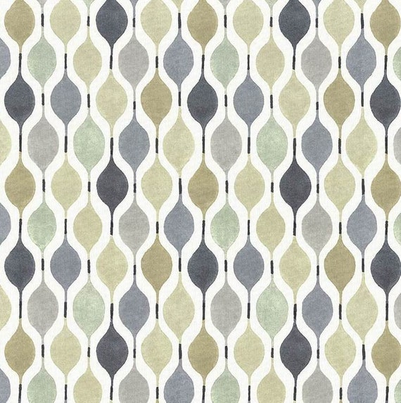 Taupe White Geometric Cotton Home Decor Fabric Modern Dark