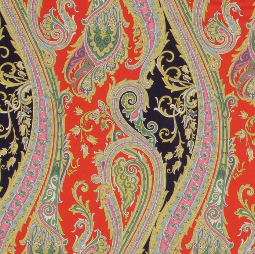 Navy Blue Orange Paisley Upholstery Fabric Large Scale