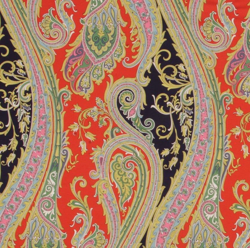 navy blue orange paisley upholstery fabric large scale. Black Bedroom Furniture Sets. Home Design Ideas