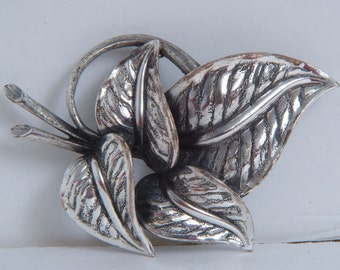 Vintage Large Chunky Leaf Leaves Brooch Tortolani