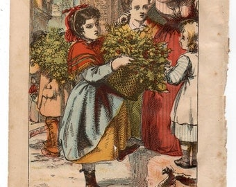 Antique print The Holly Seller 1870