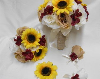 Wedding Silk Flower Bridal Bouquet 18 pieces Package Ivory Cream Roses Yellow Sunflower Burgundy Bridesmaid Burlap Corsages FREE SHIPPING