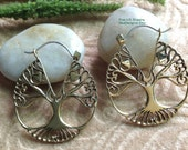 """Tribal Exotic Hanging Earrings, """"Tree Hug"""" Brass, Sterling Clasps, Handcrafted"""