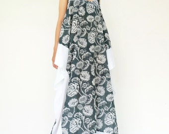 NO.203 Gray and White Cotton Racerback Sleeveless Dress, Floral Printed Cotton Maxi Dress, White Panel Maxi Dress
