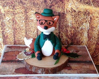 Polymer clay fox cake topper,birthday, woodland cakes,woodland animals