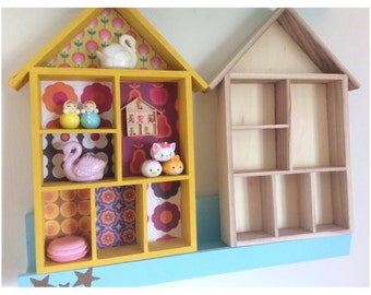 House Shadow Box- DIY Unpainted Wall Shelf