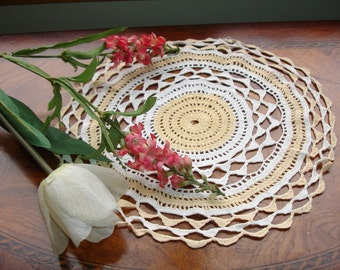 "Doily hand crocheted circa 1950s, vintage decor, handmade, round doily, 11.5"" round, gold and white"