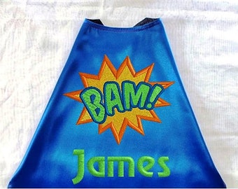 Super Hero Cape, Kid's  Cape  Bam with Personalized Name