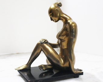 Sitting Nude Woman Asian Modernist Hollywood Regency Brass and Wood