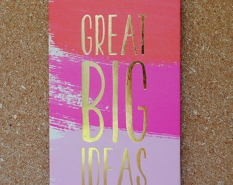 Great Big Ideas Coral Pink Purple Gold Metallic Spiral Notebook with Top Binding