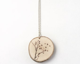 Branches & Birds Tree Wood Necklace