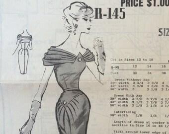 UNCUT Vintage 1960's Dress Pattern Austine La Mar Mail R-145 Order Pattern Cocktail Dress, Party Dress
