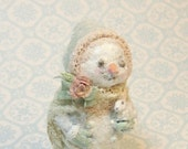 Victorian sparkly Snowgirl doll Snow Bunny -vintage pink & antique lace - mint velveteen- Jill Dianne hand-sculpted Miniature