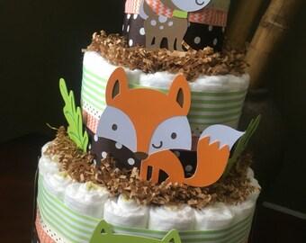 woodland diaper cake owl diaper cake baby shower centerpiece new baby gift