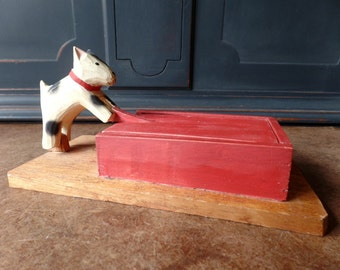 Primitive Handcarved Wood Dog Box, Trinket, Folk Art, Tramp Art, Red, White, Black, Collectible