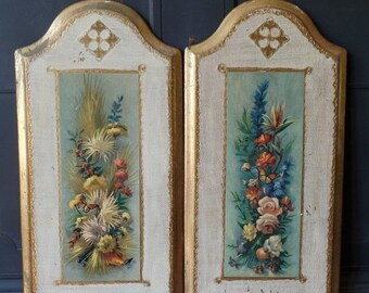 Clearance Vintage Florentine Wall Plaques Hangings, Gold Leaf, Floral, Rectangular, Arched, Home Decor, Made in Italy