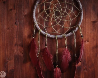 Large Dream Catcher - Motherhood - Unique Dream Catcher with Brown Web and Brown Feathers - Boho Mobile, Dreamcatcher