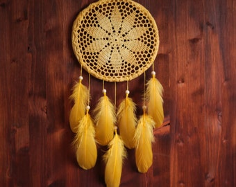 Dream Catcher - Yellow Mandala - Unique Dream Catcher with Yellow Transitional Crochet Web and Yellow Feathers - Mobile, Home Decoration