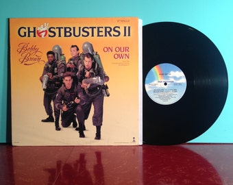 """GHOSTBUSTERS II 2 Bobby Brown On Our Own 12"""" Single Soundtrack Vinyl Record 1989 Promo Halloween Horror Movie Near Mint Condition Vintage"""